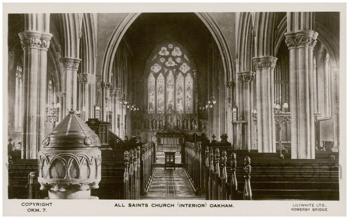 Postcard front: All Saints Church (Interior) Oakham.