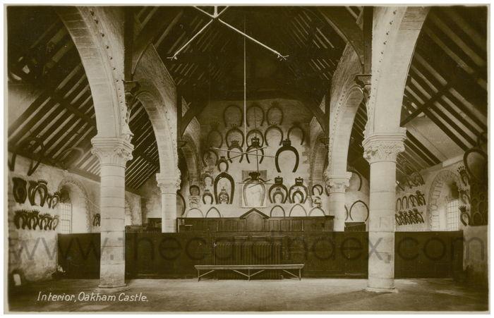 Postcard front: Interior, Oakham Castle.