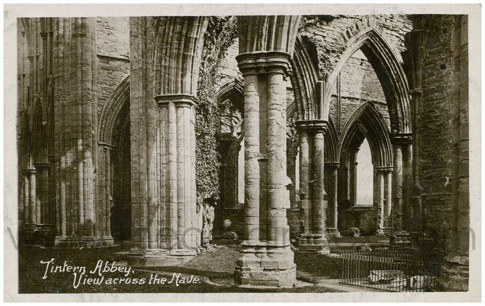 Postcard front: Tintern Abbey, View across the Nave.