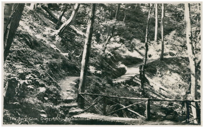 Postcard front: The Fairy Glen, Dwygyfylchi, Penmaenmawi