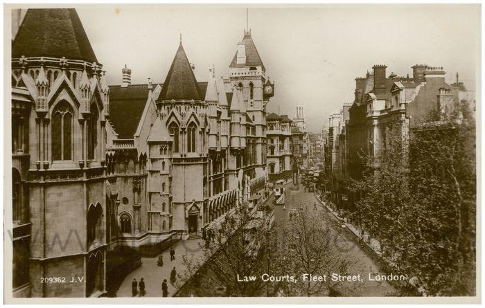 Postcard front: Law Courts, Fleet Street, London