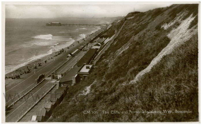 Postcard front: The Cliffs and Promenade Looking West, Boscombe