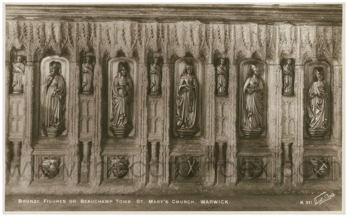 Postcard front: Bronze Figures on Beauchamp Tomb, St. Mary's Church, Warwick.