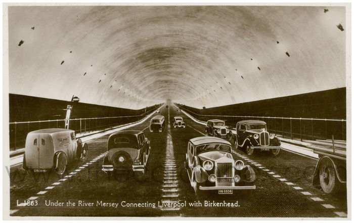 Postcard front: Under the River Mersey Connecting Liverpool with Birkenhead.