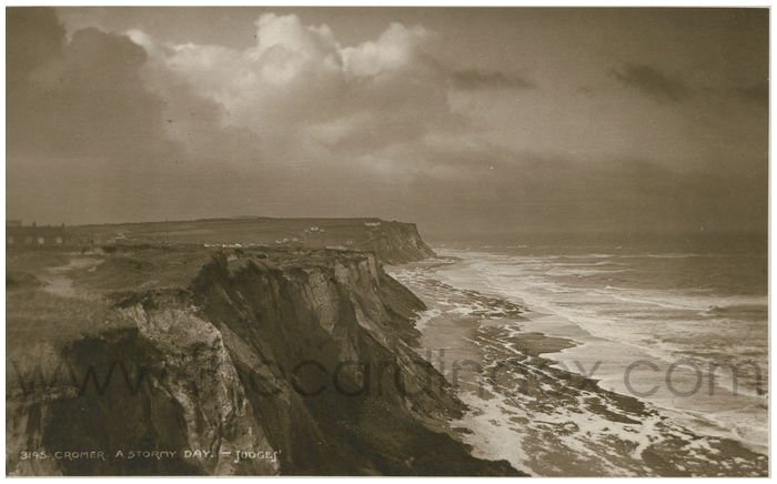 Postcard front: Cromer. A Stormy Day.