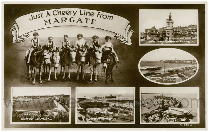 Postcard front: Just A Cheery Line From Margate.