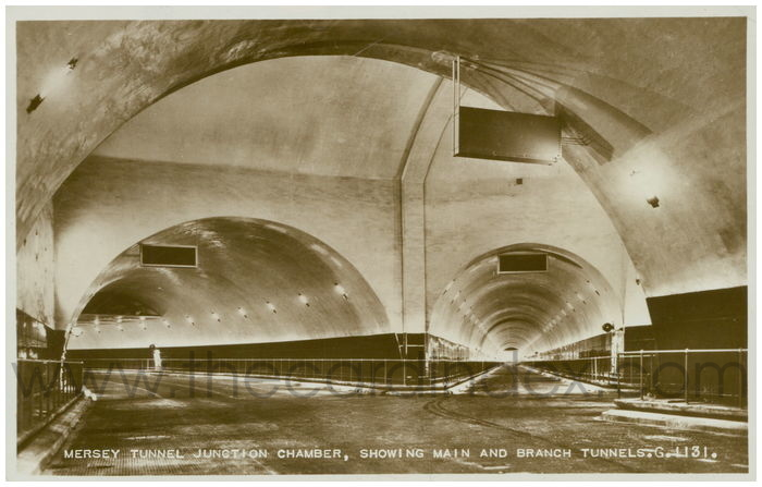 Postcard front: Mersey Tunnel, Junction Chamber Showing Main And Branch Tunnels.