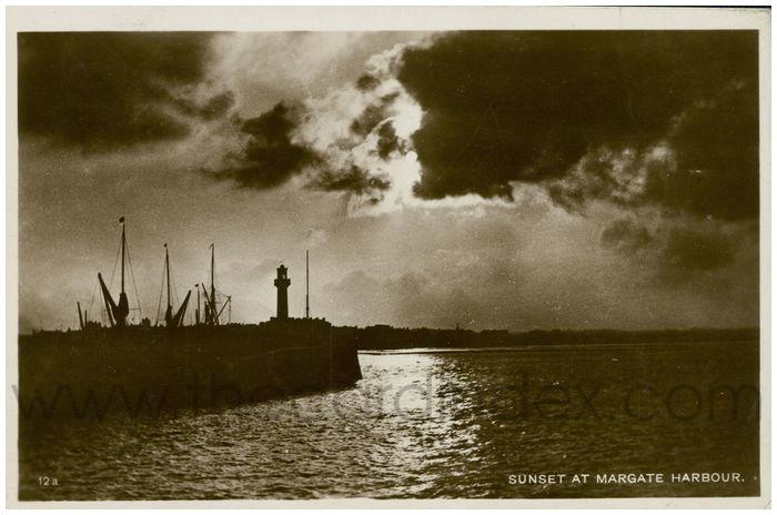 Postcard front: Sunset At Margate Harbour