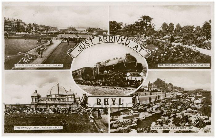 Postcard front: Just Arrived at Rhyl