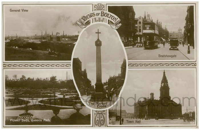 Postcard front: Views Of Bolton