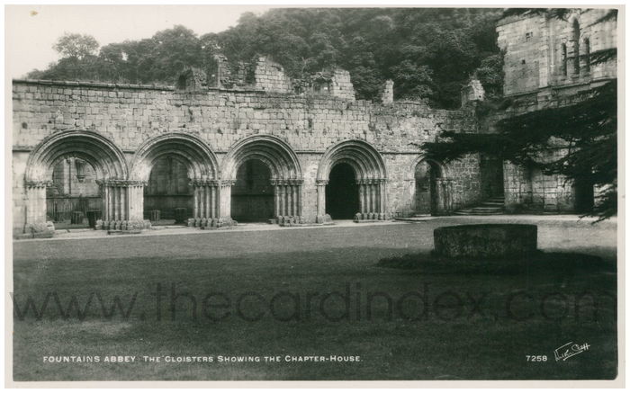 Postcard front: Fountains Abbey The Cloisters Showing The Chapter-House.