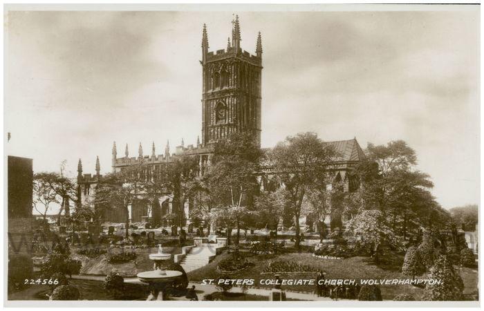 Postcard front: St. Peters Collegiate Church, Wolverhampton.