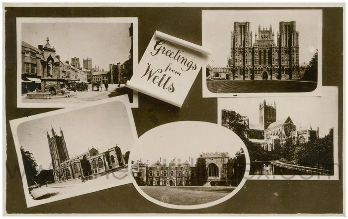 Postcard front: Greetings from Wells