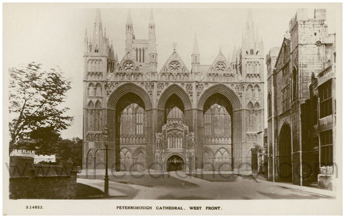 Postcard front: Peterborough Cathedral, West Front.