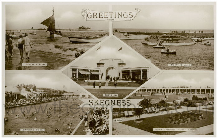 Postcard front: Greetings From Skegness