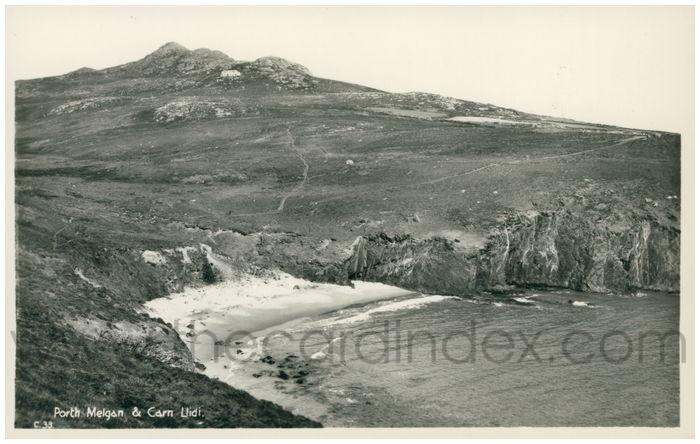 Postcard front: Porth Melgan & Carn Llidi.