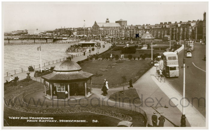 Postcard front: West End Promenade From Battery. Morecambe