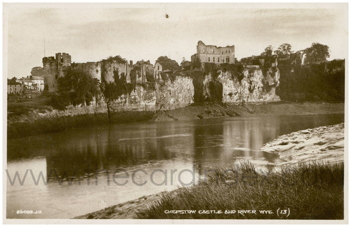 Postcard front: Chepstow Castle and River Wye