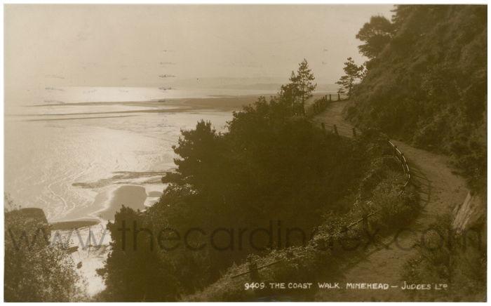 Postcard front: The Coast Walk. Minehead.
