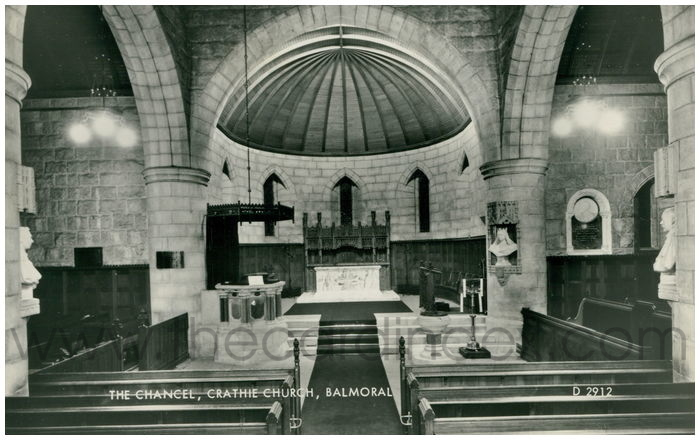 Postcard front: The Chancel, Crathie Church, Balmoral