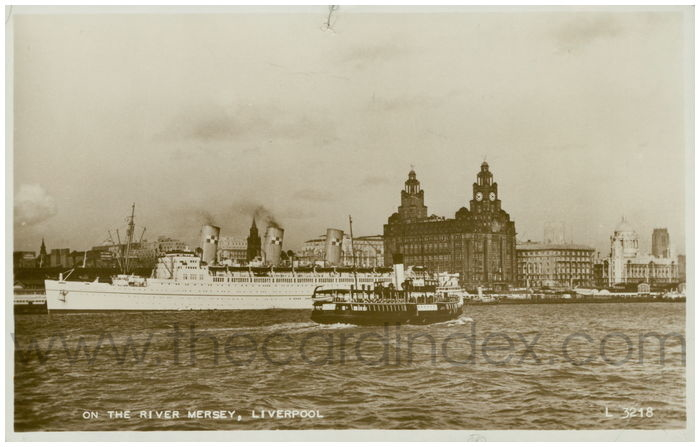 Postcard front: On The River Mersey, Liverpool.