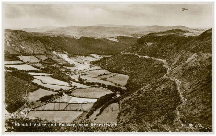 Postcard front: Rheidol Valley and Railway, near Aberystwyth