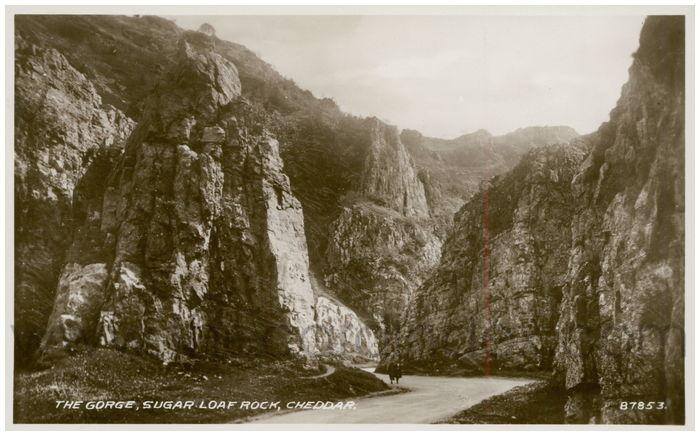 Postcard front: The Gorge, Sugar Loaf Rock, Cheddar.