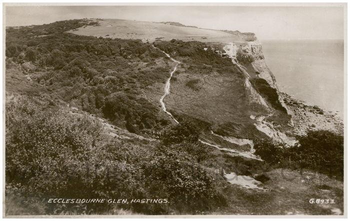 Postcard front: Ecclesbourne Glen, Hastings.