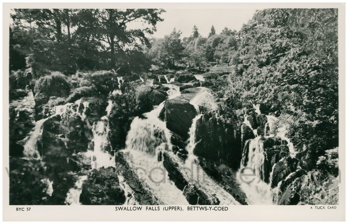 Postcard front: Swallow Falls (Upper). Bettws-Y-Coed