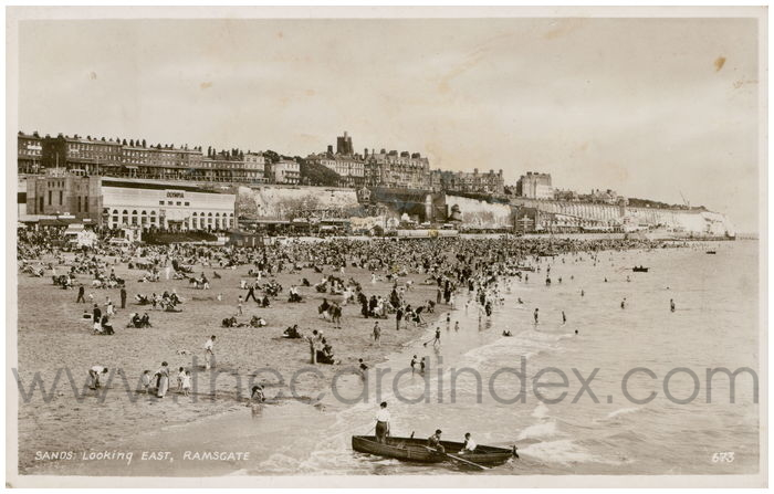 Postcard front: Sands Looking East, Ramsgate