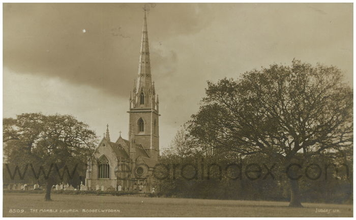 Postcard front: The Marble Church. Boddelwydden