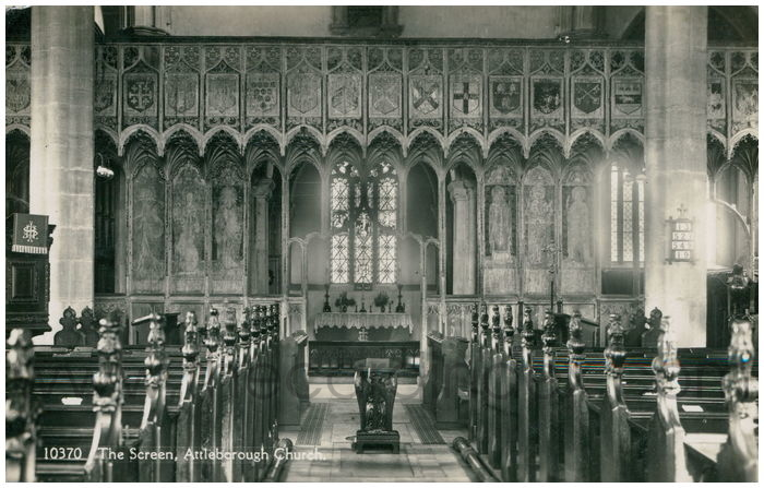 Postcard front: The Screen, Attleborough Church.