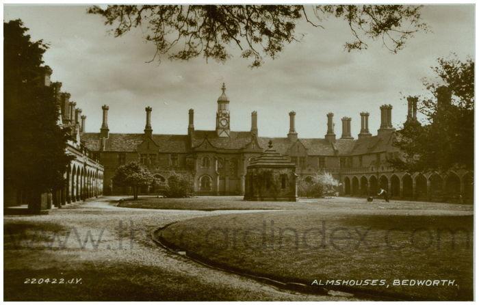 Postcard front: Almshouses, Bedworth.