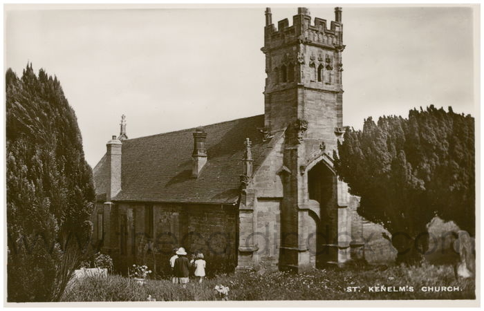 Postcard front: St. Kenelm's Church.