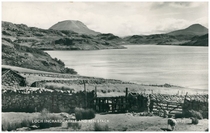 Postcard front: Loch Inchard, Arkle and Ben Stack.