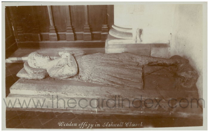 Postcard front: Wooden Effigy in Ashwell Church
