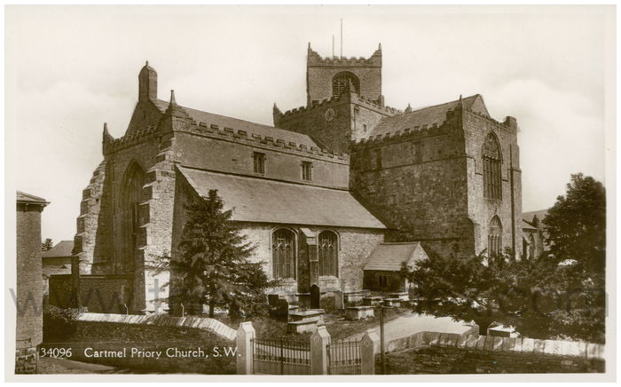 Postcard front: Cartmel Priory Church, S.W.