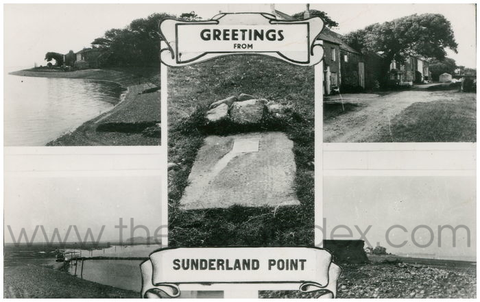 Postcard front: Greetings From Sunderland Point.