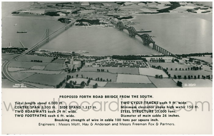 Postcard front: Proposed Forth Road Bridge From The South.