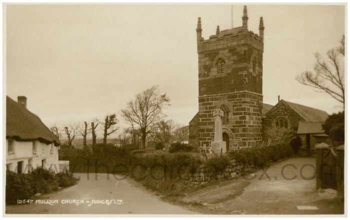 Postcard front: Mullion Church