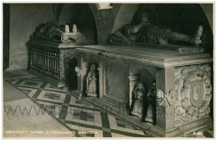Postcard front: Draycott Tombs, St. Margaret's, Draycott.