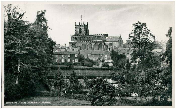 Postcard front: Audlem from Holmes Bank.