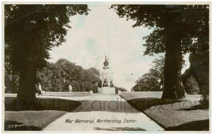Postcard front: War Memorial, Northernhay, Exeter.