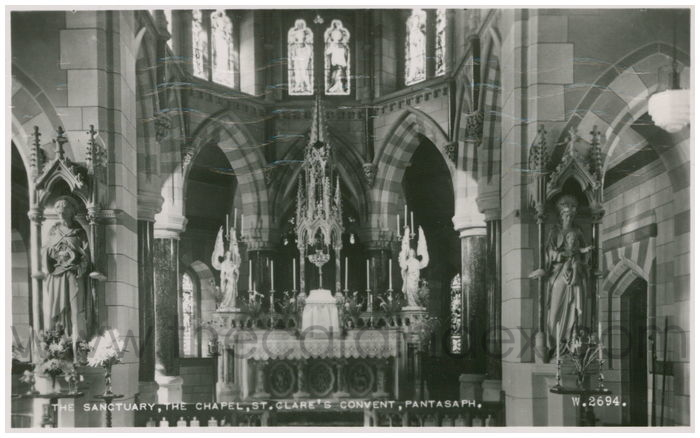 Postcard front: The Sanctuary, The Chapel, St. Clare's Convent, Pantasaph.