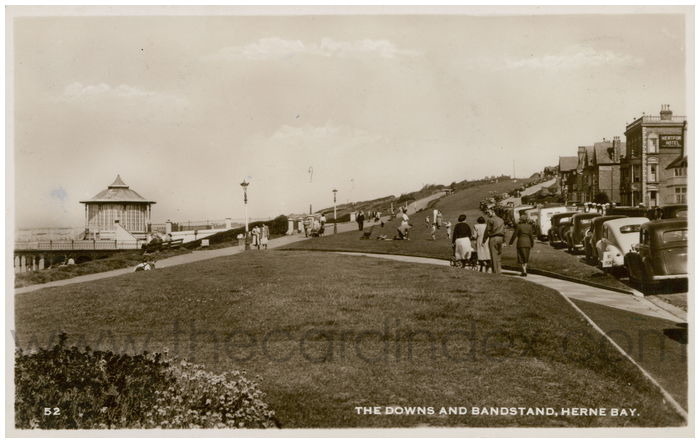 Postcard front: The Downs and Bandstands, Herne Bay.