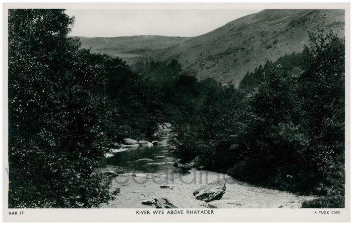 Postcard front: River Wye above Rhayader