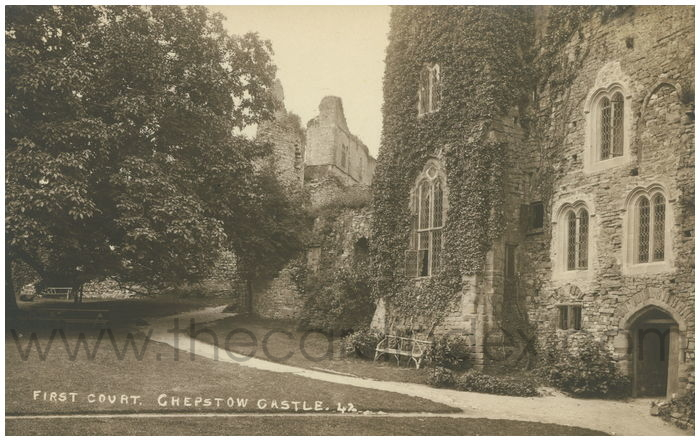 Postcard front: First Court, Chepstow Castle.
