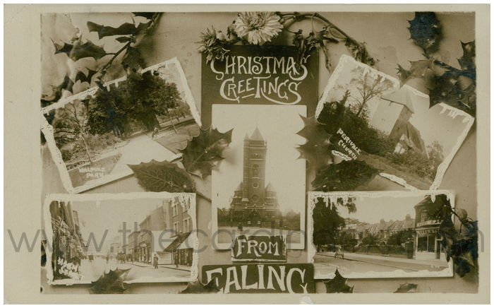Postcard front: Christmas Greetings From Ealing