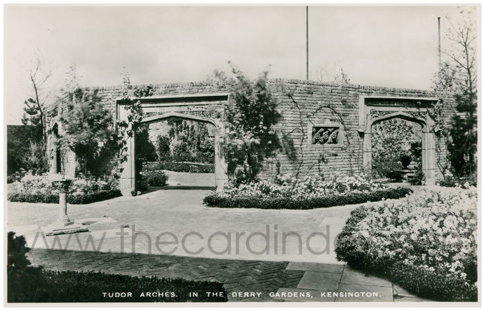 Postcard front: Tudor Arches in The Derry Gardens, Kensington.