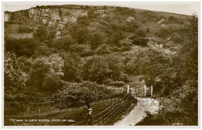 Postcard front: Pathway to Bryn Euryn, Rhos-on-Sea.